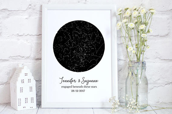 A personalised star constellation map for a time and place of your choice