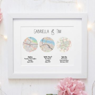 Three maps shaped into circles of  a relationship journey Met, engaged, married.