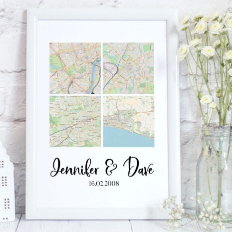 4 personalised maps personalised with family names