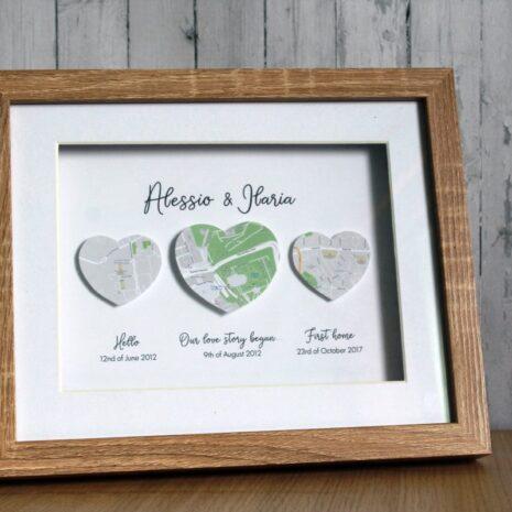 met engaged married 3d map framed