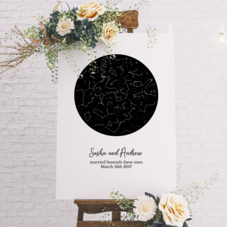 Star Map Guest Book Wedding Alternative Guest Book Poster Night Sky Constellations Print Rustic Wood Frame Anniversary Gift Canvas Star Map