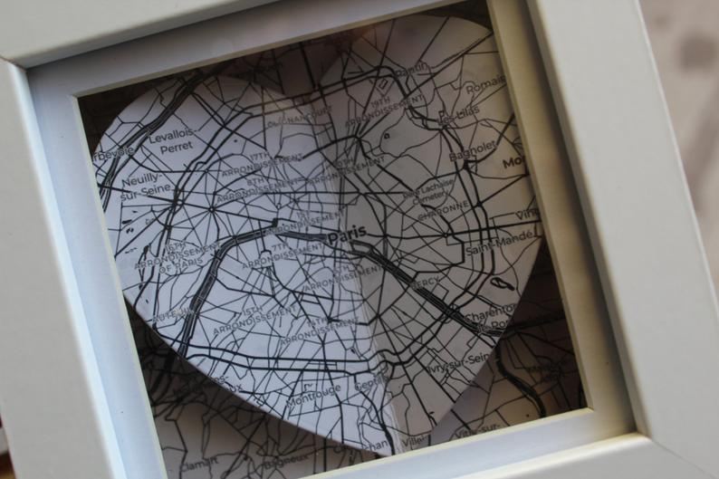 Black and white map of Paris in a white frame- custom maps available