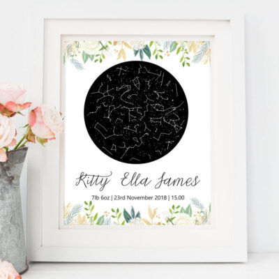 personalised new baby gifts, personalised star map not on the high street