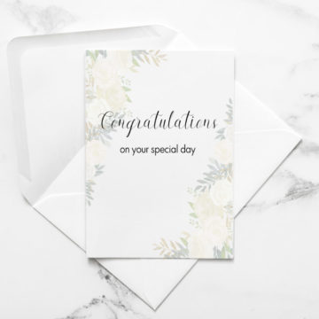 Card – Congratulations on your special day white flowers