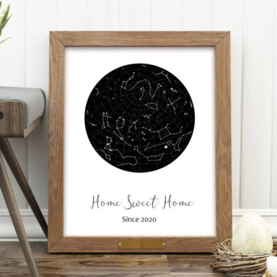 home sweet home sign with custom star constellation