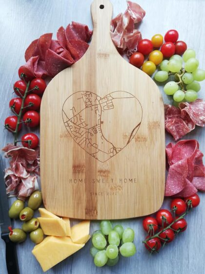 Beautiful bamboo serving board can protect your surfaces, serve up tasty treats or use as a decorative item.