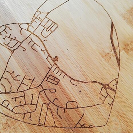 Personalised map engraving on chopping board