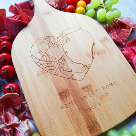 custom map on wooden chopping board